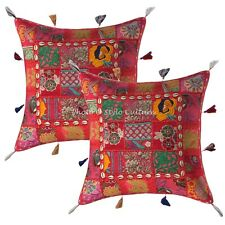 43 x 43 Embroidered Patchwork Throw Pillow Covers Indian Cotton Bohemian Cowrie