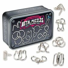 Classic Brainteaser Metal Puzzles In  A Tin 10 Different Puzzle Storage Tin