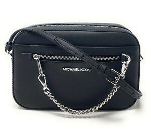 Michael Kors Jet Set Item Large East West Zip Chain MK Leather Crossbody Bag
