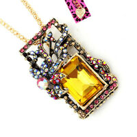 Colorful Crystal Square Pendant Chain Betsey Johnson Necklace/Brooch Pin Gift