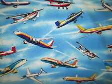 PLANE AIRPLANES PLANES JETS COLORS SKY BLUE COTTON FABRIC BTHY