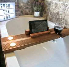 WOODEN BATH CADDY Tray Shelf Decking Board Tablet Wine Holder Rustic FREE CANDLE