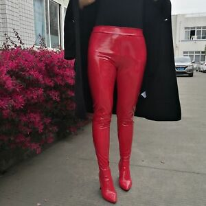Plus-Size Womens Patent Leather Punk Solid Pants Boots Block Mid Heel Shoes New