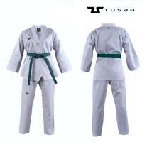 Tusah Adult WT Taekwondo Dobok Suit Gi Uniform White Collar V-Neck WT Approved