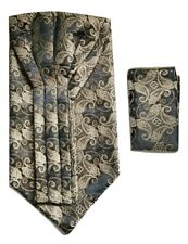 Woven Paisley Jacquard Silky Ascot + Handkerchief Pocket Square Set Wedding