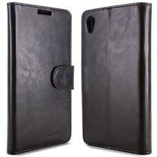 for Sony Xperia Z5 Wallet Case - Black Folio Faux Leather Pouch LCD