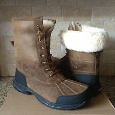 UGG Butte Bomber Chestnut Waterproof Leather Sheepskin Snow Boots Size US 8 Mens