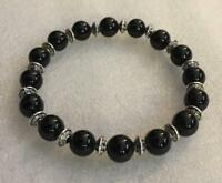 8mm Obsidian bracelet Stretchy Bead Lucky Healing energy men pray  7.5inches