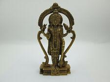 Vintage Solid Brass Lord Vishnu Hindu Statue Figure 6.5 inches