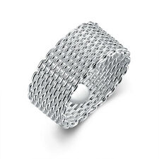 925 sterling Solid silver Round weave rings size6 festival #P189