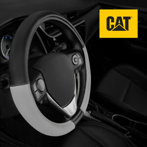 CAT Two Tone Ergonomic Soft Leather Grip Steering Wheel Cover - Universal Fit