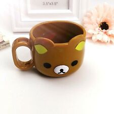 Cute Brown Bear Tooth Brush Cup Mug Toothbrush Handle Holder Red For Kids