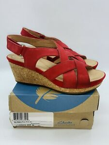 Clarks Unstructured Women's Un Capri Step Leather Wedges - Red US 8.5M EUR 39.5
