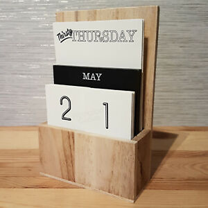 Wooden Perpetual Calendar Black & White Office Desk New Monochrome Home Decor