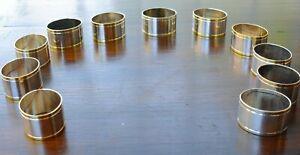 12 schöne Serviettenringe aus Metall silber- + goldfarben