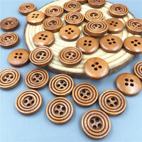 100pcs DIY  Brown 4 Holes Wooden Buttons Sewing Scrapbooking Crafts DIY 15mm