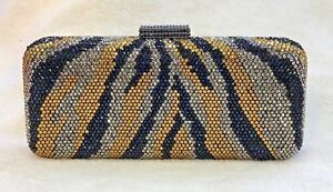 Multi-Color~Tiger Pattern Rhinestone Crystal Cocktail/Evening Party Clutch Bag