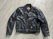 vintage cruiser HARLEY DAVIDSON leather EMBOSSED eagle L black jacket motorcycle