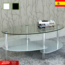 Mesa de Centro Diseño Exclusivo 2 Niveles Vidrio Mesita Blanca/Negra vidaXL