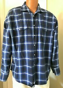WRANGLER Western Shirt -  Blue Plaid w/ Pearl Snaps - Size XL(see measurements)