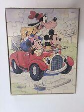 Milton Bradley Disney 35 pcs Genuine Wood Puzzle w/Goofy, Micky & Mimi Mouse