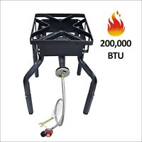 200,000 BTU Outdoor Camping Portable Cast Iron Propane Burner Stove Gas Cooker