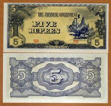 WW2 Japan Occupied Burma 1942-44 5 Rupee Bank Note- UNC Cond.17-172