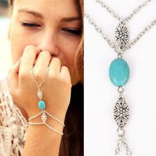 Women's Silver Plated Turquoise Bead Bracelet Hand Slave Hippy Boho