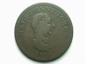Canada 1815 Genuine British Copper Half Penny Token #1