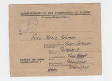France - Allemagne 1946 Prisonnier de Guerre Lettre Feuille Dépôt #