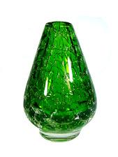 Ancien Verre Vase PAPERWEIGHT avec bulles d'air GREEN GLASS Nylund Era Finland vintage