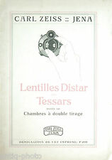 """Catalogue photographique """"Lentille distar pour Tessars .."""" Carl Zeiss (Français)"""