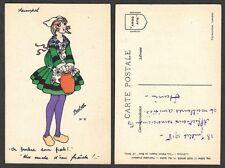 Old Postcard - Artist Signed Paulette - Les Petits Sabots de Bois, Pretty Lady