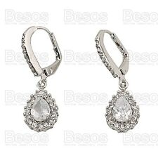 CUBIC ZIRCONIA EARRINGS crystal WHITE GOLD SILVER TONE dropper LEVER BACK GIFT