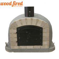 brick outdoor wood fired Pizza oven 80cm grey maxi deluxe black door