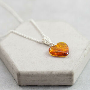 Amber Heart Pendant Amber Love Necklace Sterling Silver Necklace Heart Love Gift