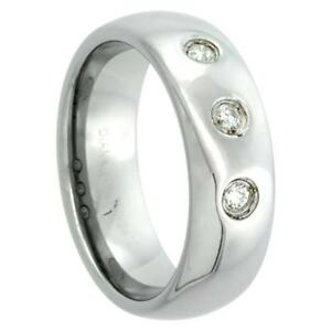 7mm Tungsten Domed Wedding Ring Band Diamond 0.14ct High Polished Comfort Fit