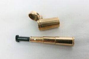 ART DECO 9CT GOLD ENGINE TURNED FOB CHARM CASED EXTENDING CIGARETTE HOLDER 8.35g