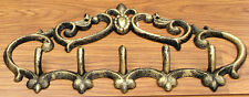 """Gold Fleur De Lis Cast Iron Coat Hook Rack 13"""" Length 5- Hook Hanger Wall Mount"""