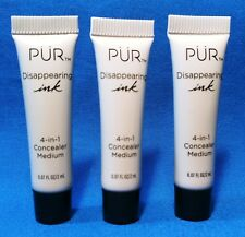 3X PUR Cosmetics ~ Disappearing Ink ~ 4 in 1 Concealer ~ MEDIUM ~ 0.07 oz ea  3X