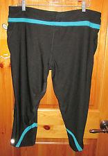 NEW AVIA XXL Street Talker Active Capri Pants Black with Teal Trim NWT