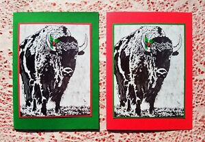 5 Handmade Bison and Holly Christmas Cards Buffalo Block Print Linocut Set Card