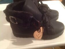 Black Fur Lined Ankle Boots Size 3 New Shop Clearance