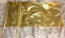 PRAISE Worship ~ PAIR Med. GOLD METALLIC Lamé Rectangular FLAGs w/Poles ~ DANCE