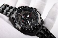 NEW MEN'S CASIO EDIFICE EF550D-7AV ALL BLACK STAINLESS STEEL WATCH WITH TAG,BOX