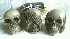 Set 3 Die-cast Resin Speak See Hear No Evil Skulls Legendary Dragoncrest Decor