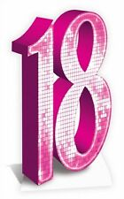 PINK NUMBER 18 - LIFESIZE CARDBOARD CUTOUT / STANDEE Birthday party age prop