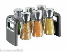 Cole & Mason Herb & Spice Rack 6 Quality Jar Chrome Silver Jars Spices Included