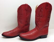 WOMENS JUSTIN COWBOY LEATHER RED BOOTS SIZE 5.5