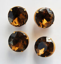 VINTAGE LARGE GLASS BUTTONS SMOKED TOPAZ in BRASS SETTING 20mm